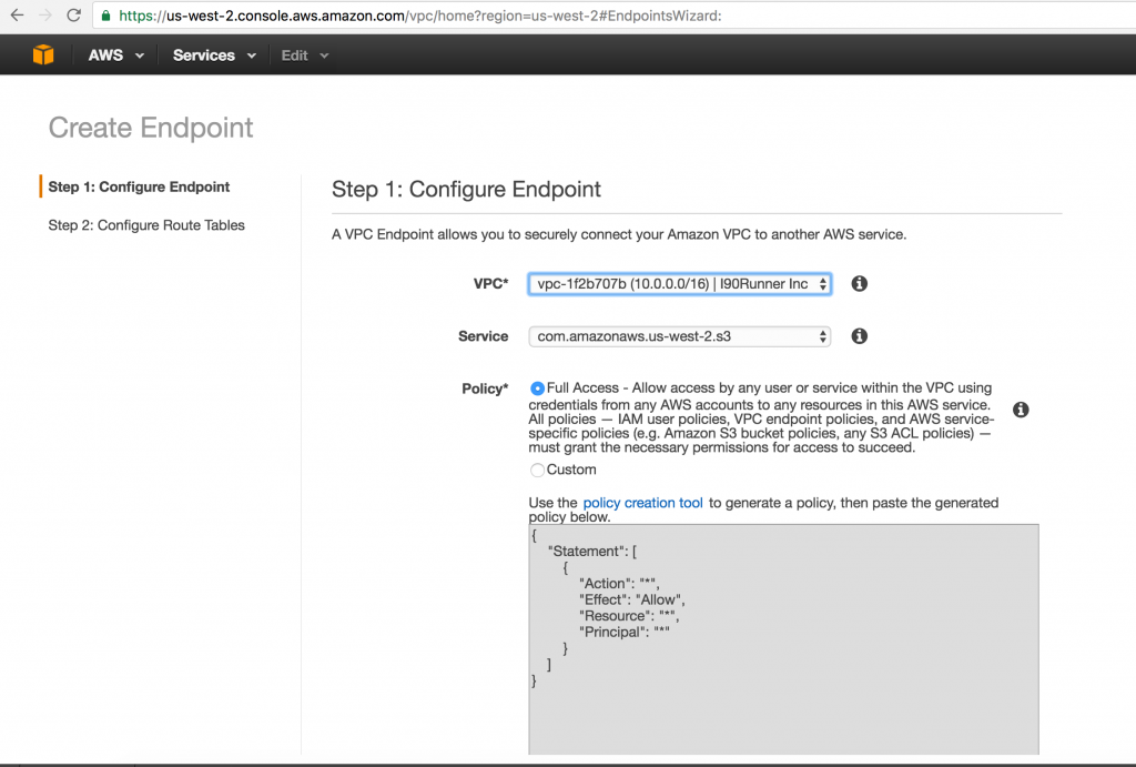Create VPC End Points