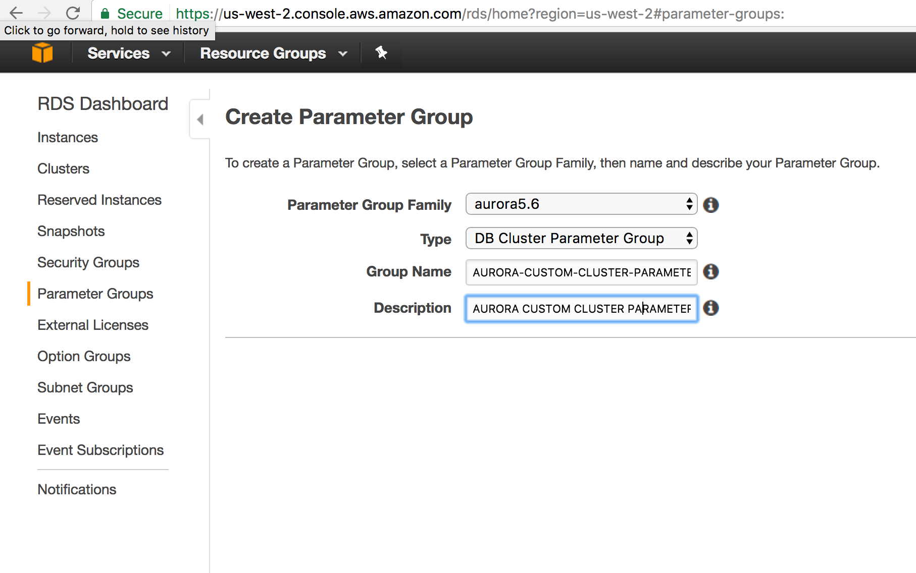 AURORA CLUSTER PARAMETER GROUP