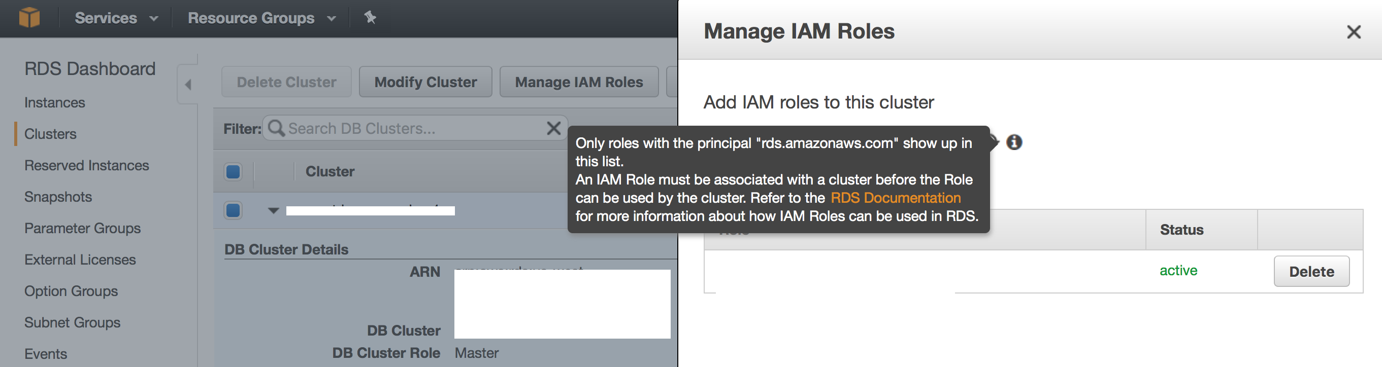 Modify AURORA Instance to use IAM ROLE